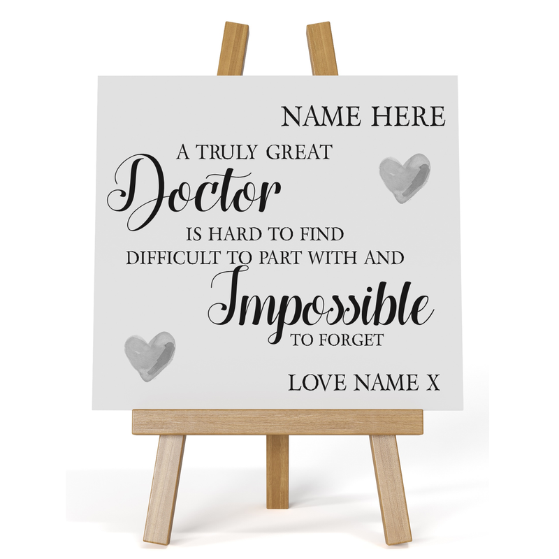 Impossible to Forget Personalised Plaque | Doctors | Nurses | Care Workers - PureEssenceGreetings