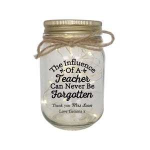 TEACHER Personalised LED Candle Jar Light PureEssenceGreetings