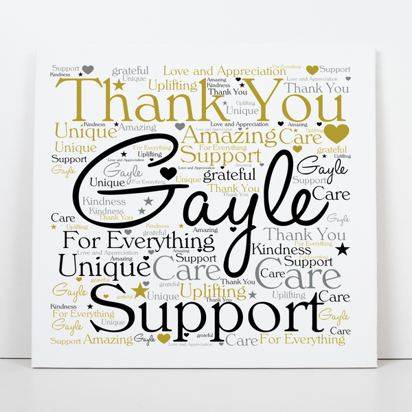 Thank You Personalised Word Art Greeting Card PureEssenceGreetings