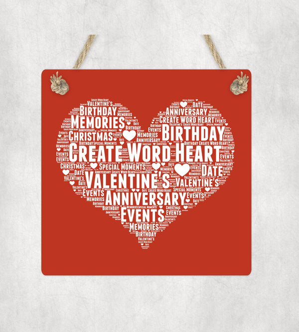 Valentine's Personalised Word Art  Wooden Plaque - Own Text PureEssenceGreetings