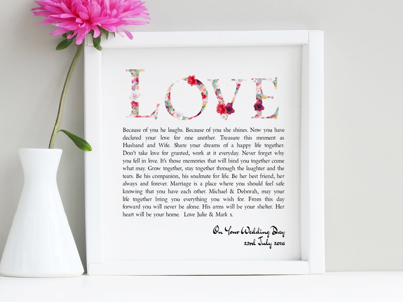 Personalised Wedding Day Framed Love Poem - PureEssenceGreetings