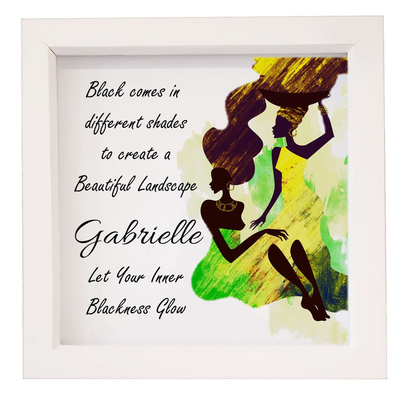 Let Your Inner Blackness Glow Box framed Quote - PureEssenceGreetings