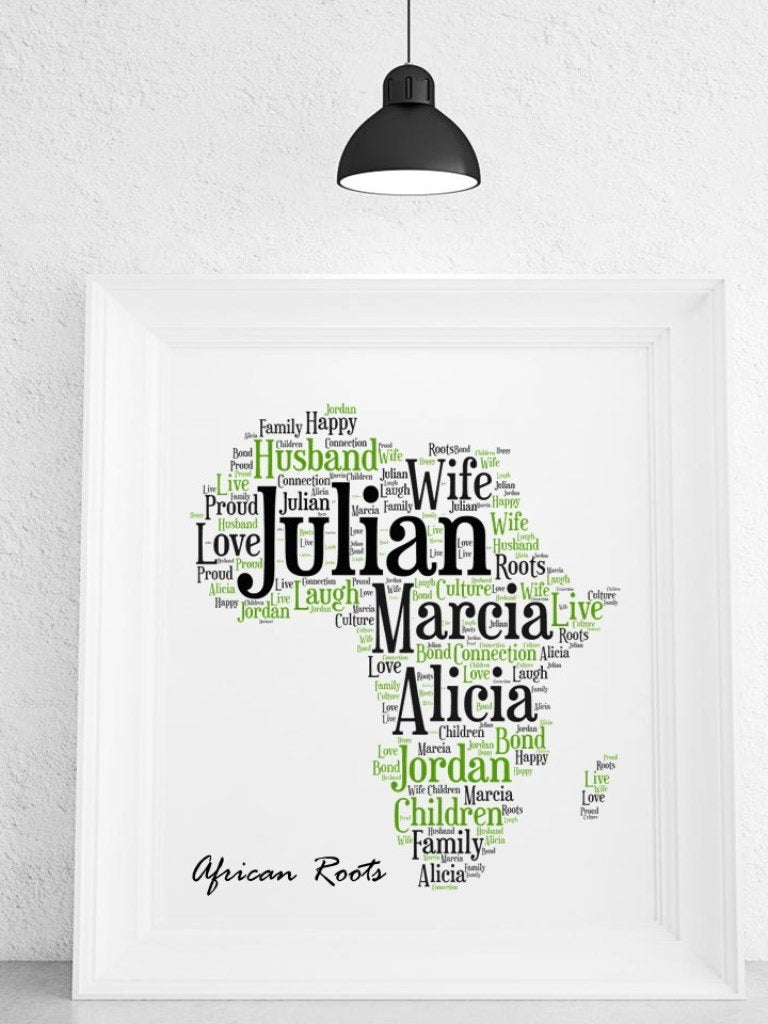 Africa Personalised Framed Word Art Print - PureEssenceGreetings