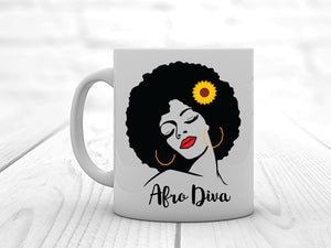 Afro Diva Personalised Mug - PureEssenceGreetings