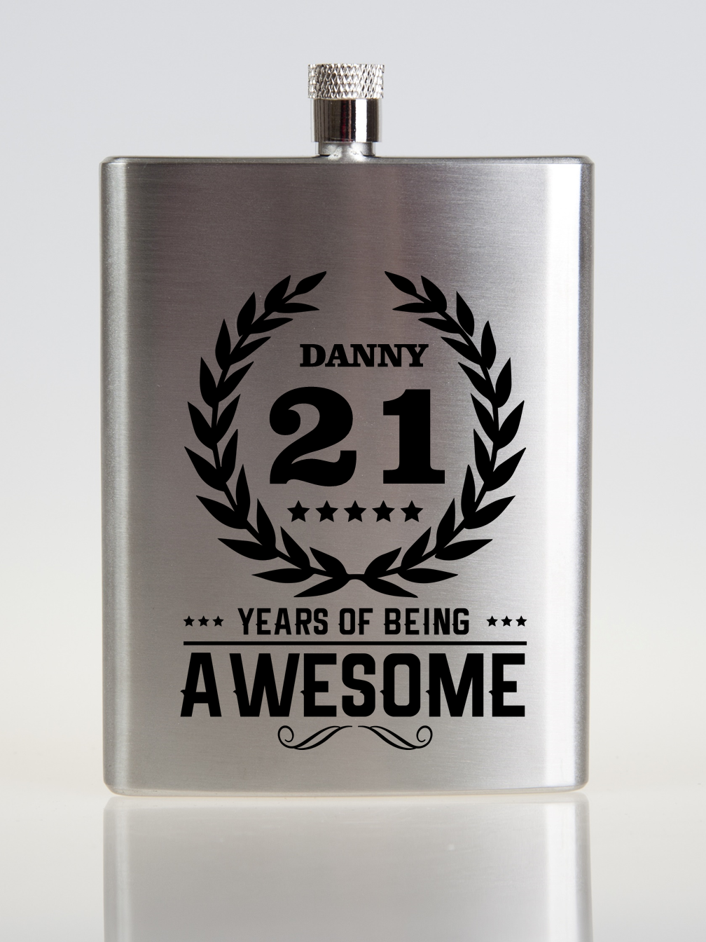 Awesome Personalised Birthday Hip Flask |  Birthday Crest - PureEssenceGreetings