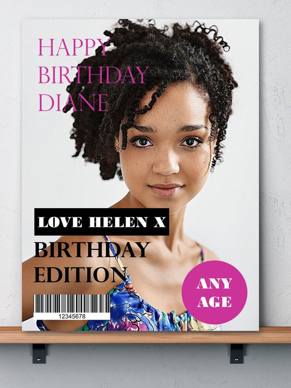 Magazine Design Birthday Photo Card - PureEssenceGreetings