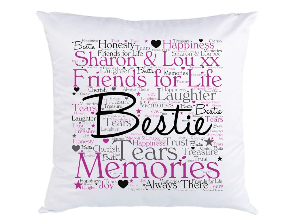 Bestie Friendship Word Art Personalised Cushion - PureEssenceGreetings