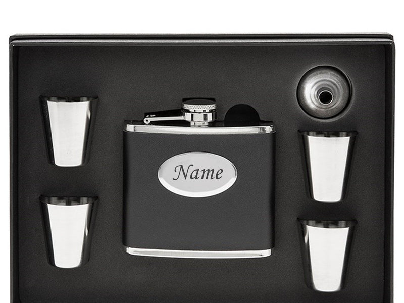 Personalised  Black Hip Flask - Own Text - PureEssenceGreetings