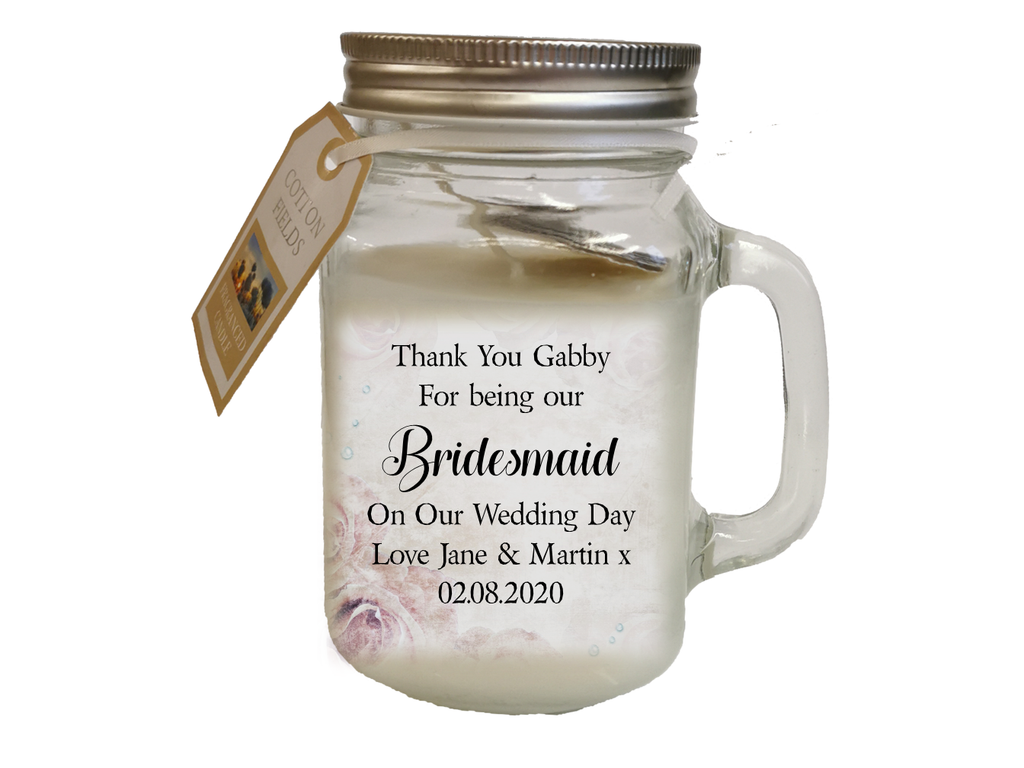 Wedding Thank You Personalised Candle | For Your Bridal Party - PureEssenceGreetings