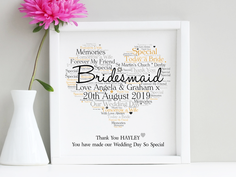Bridesmaid Word Art Personalised Frame | Wedding Thank You Gift - PureEssenceGreetings