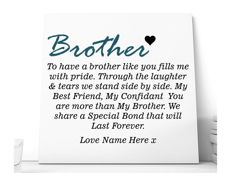 Brother Quote Personalised Ceramic Plaque - PureEssenceGreetings