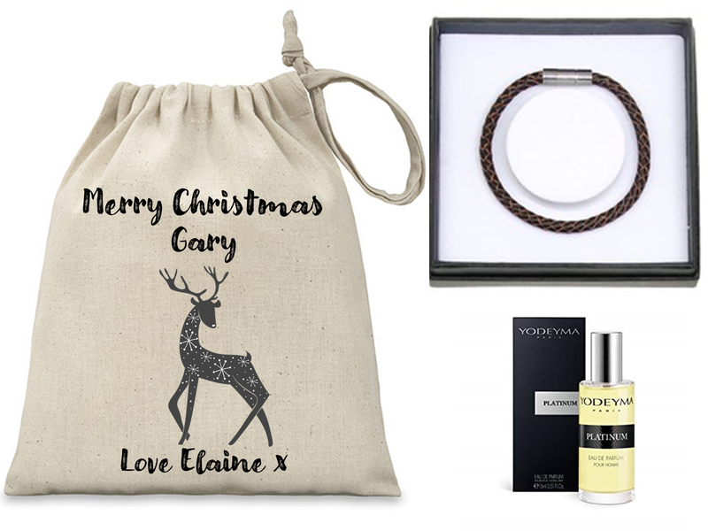 Personalised Men's Mini Christmas Sack - Filled with Yodeyma Parfum and EQ Leather Bracelet - PureEssenceGreetings