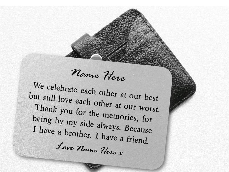 Brother and Friends Personalised Keepsake Wallet Card - PureEssenceGreetings