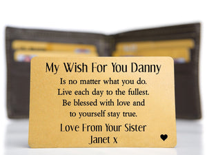 Personalised Brother Keepsake Mini Card - Brother Wish - PureEssenceGreetings