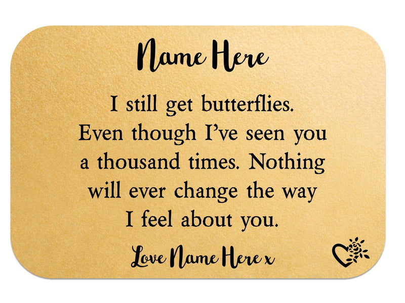 Butterflies Personalised Love Wallet Card