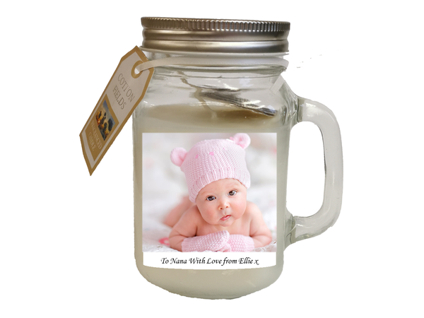 Personalised Photo Candle Jar with Handle - PureEssenceGreetings