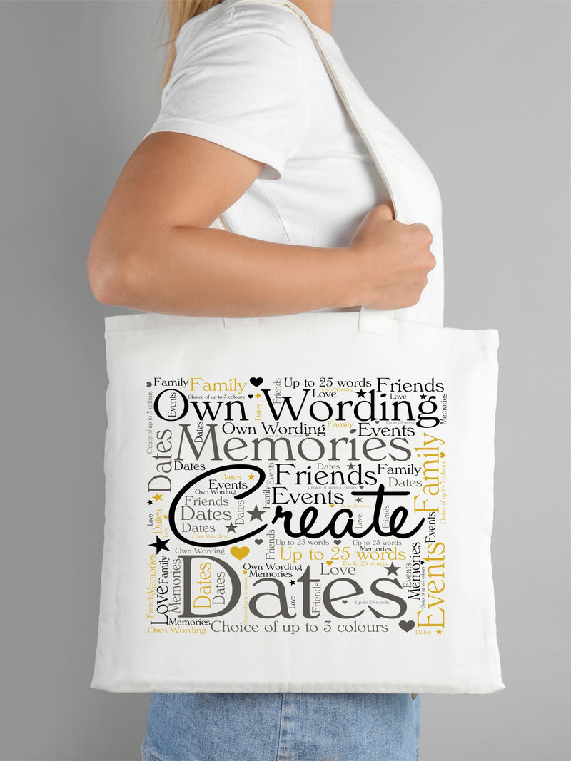 Personalised Word Art Tote Bag - Own Text