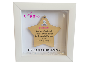 Personalised Christening Box Framed Wooden Star - PureEssenceGreetings