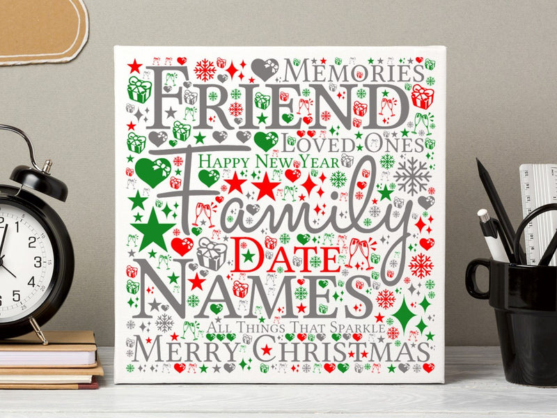 Word Art Personalised Christmas Card