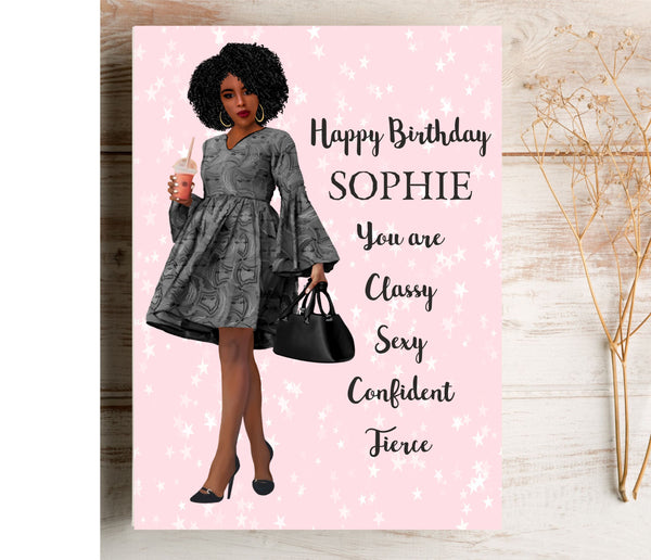 Classy Girl Personalised Birthday Card