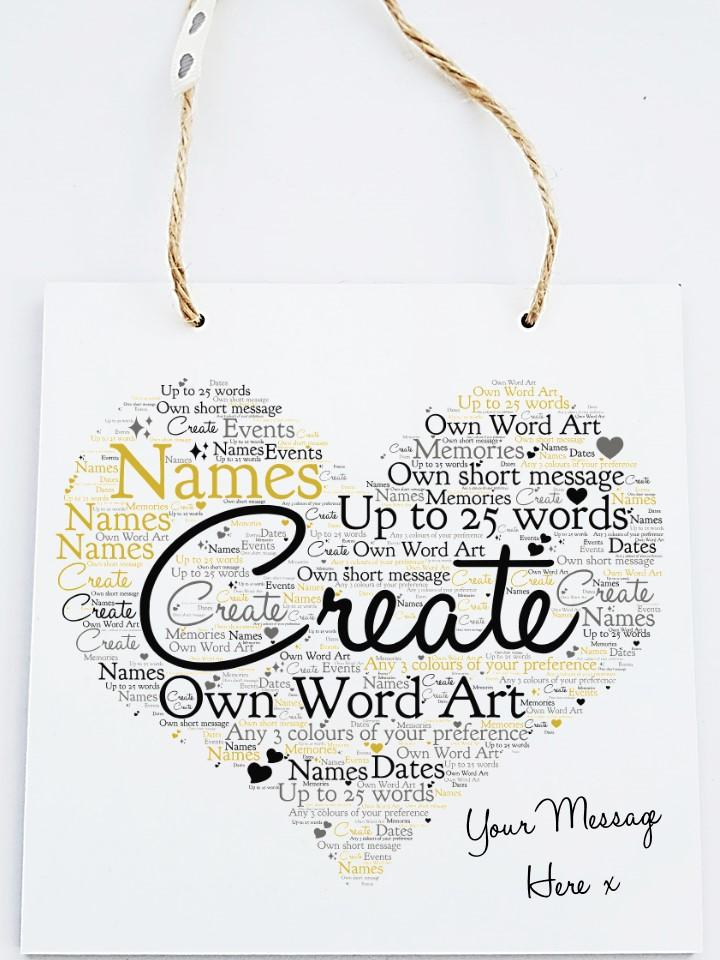 Personalised Word Art  Wooden Plaque - Own Text - PureEssenceGreetings