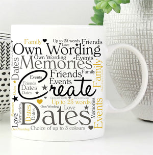 Word Art Personalised Mug - Own Wording