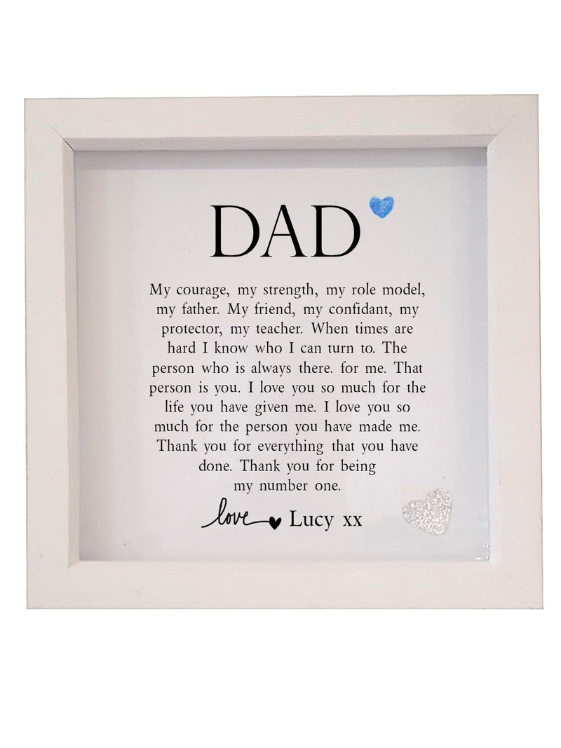 Dad Personalised Box Framed Verse  - Thank You - PureEssenceGreetings
