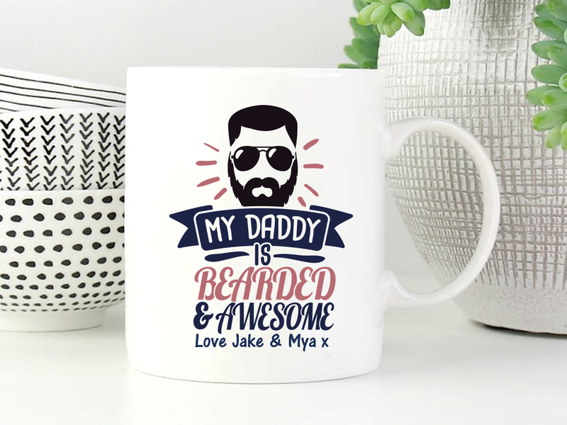 Dad Personalised Mug | Beard Design - PureEssenceGreetings