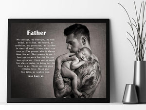 Personalised Dad Photo Framed Verse - Courage - PureEssenceGreetings