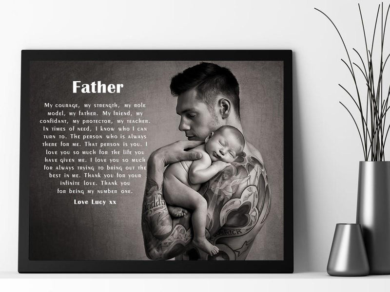 Personalised Dad Photo Framed Verse - Courage