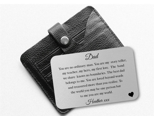 Personalised Dad Wallet Card | You Are My World - PureEssenceGreetings