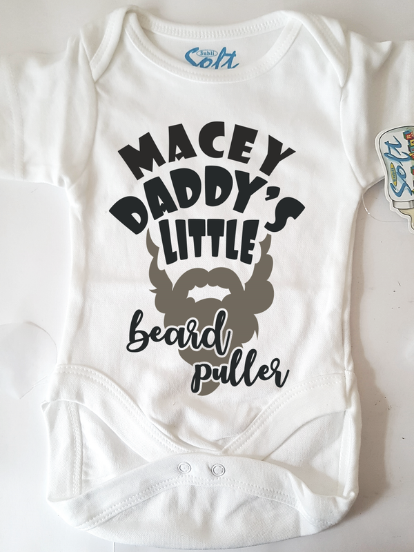 Personalised Babygro | Daddy's Little Beard Puller - PureEssenceGreetings