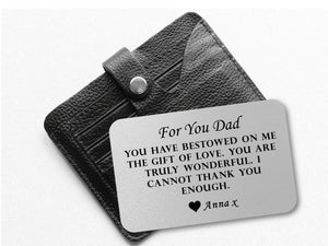 Personalised Dad Wallet Card | For You Dad - PureEssenceGreetings