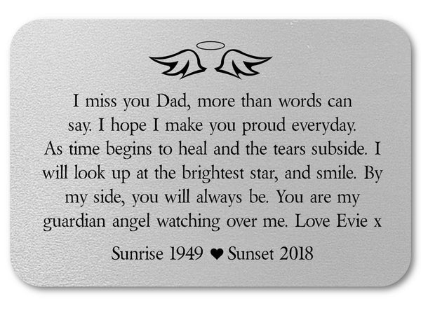 Dad Remembrance Personalised Wallet Card | Guardian Angel