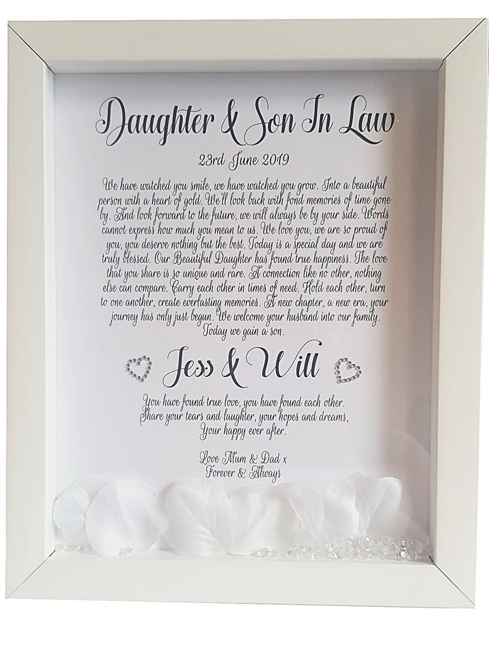 Daughter & Son in Law Framed Wedding Poem - PureEssenceGreetings