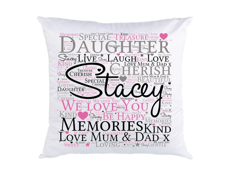 Personalised Daughter Word Art Cushion.