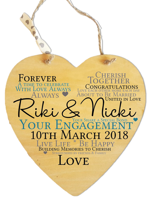 Engagement Heart Personalised Plaque - PureEssenceGreetings