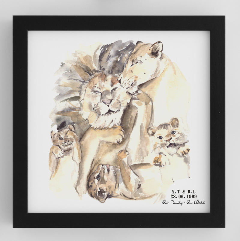 Personalised Framed Lion Family Print - PureEssenceGreetings