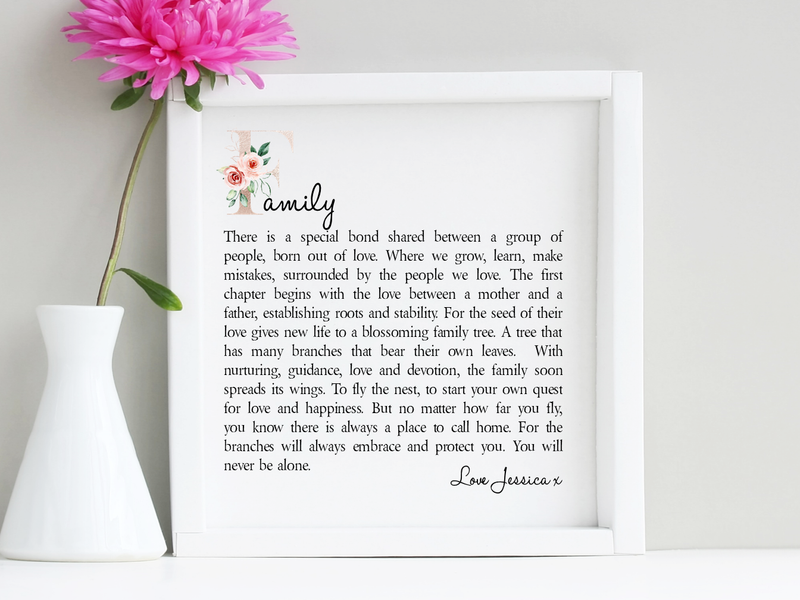 Family Personalised Boxed Framed Poem - PureEssenceGreetings