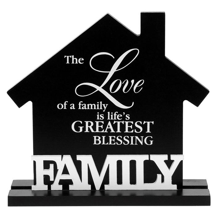 Shabby Chic Vintage Black & White Style House Plaque - Family - PureEssenceGreetings