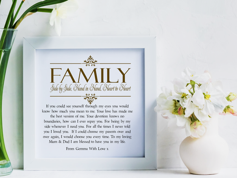 Mum & Dad Poem Personalised Framed Poem | I Am Blessed - PureEssenceGreetings