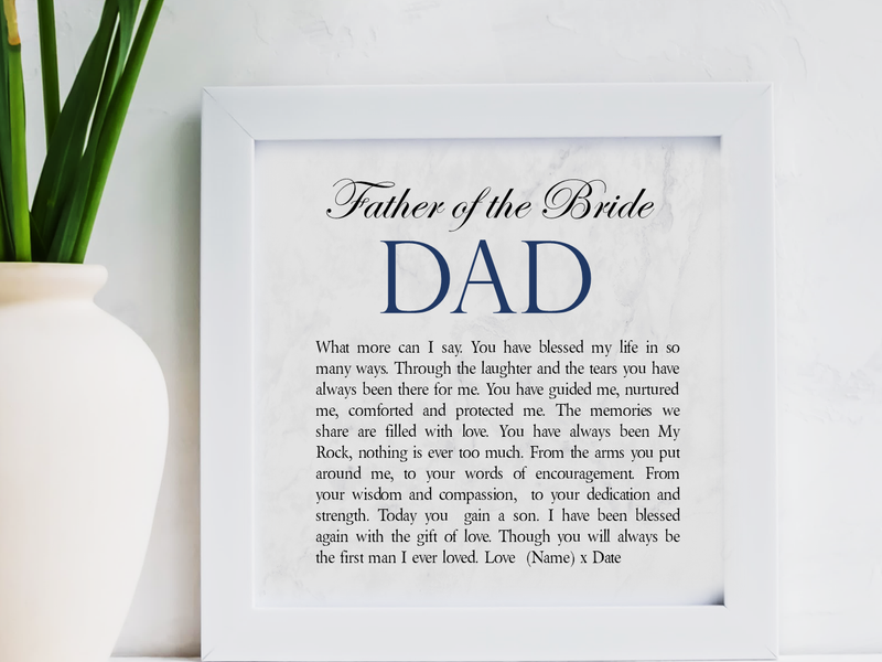 Father of The Bride Personalised Framed Poem - PureEssenceGreetings