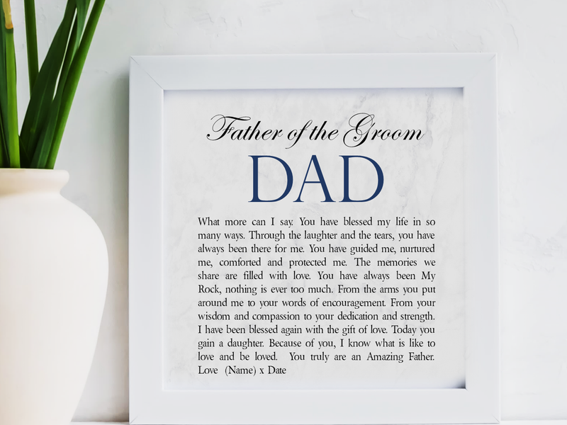Father of The Groom Personalised Framed Poem - PureEssenceGreetings