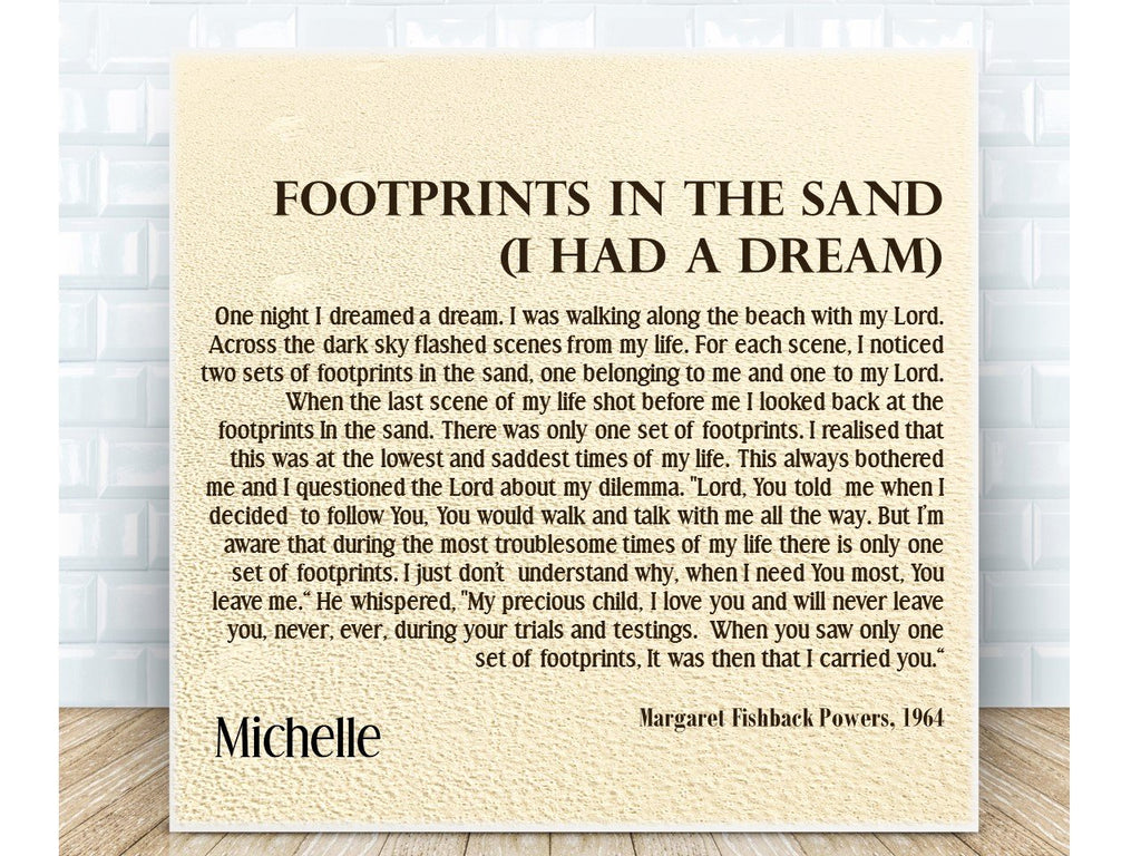 Footprints Personalised Inspirational Prayer Ceramic Plaque