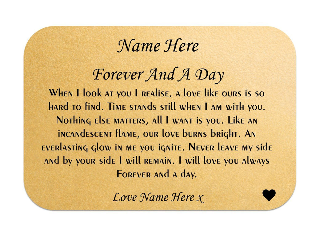 Forever and a Day Personalised Love Wallet Card - PureEssenceGreetings