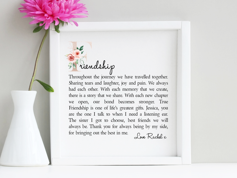 Friendship Framed Personalised Poem - PureEssenceGreetings