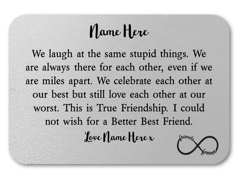 Personalised Best Friend Wallet Keepsake Card