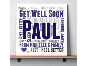 Get Well Soon Personalised Word Art Card - PureEssenceGreetings