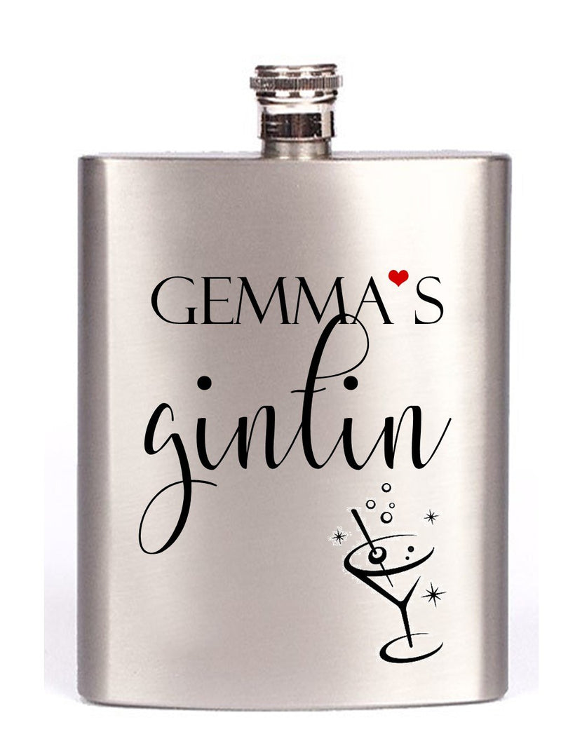 Personalised Gin Tin Hip Flask - PureEssenceGreetings