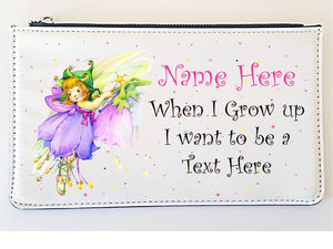 Faux Leather Personalised Children's Pencil Case - When I Grow Up - PureEssenceGreetings
